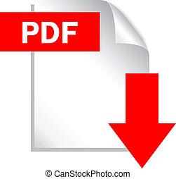 pdf, datei, herunterladen, ikone