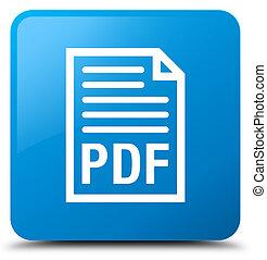 PDF document icon cyan blue square button