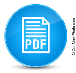 PDF document icon elegant cyan blue round button