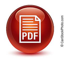 PDF document icon glassy brown round button