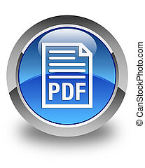 PDF document icon glossy blue round button