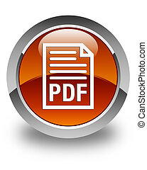 PDF document icon glossy brown round button