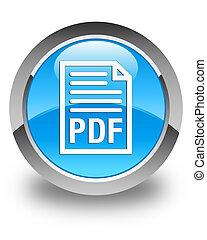 PDF document icon glossy cyan blue round button