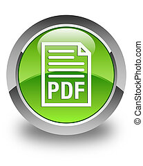 PDF document icon glossy green round button
