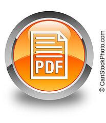 PDF document icon glossy orange round button