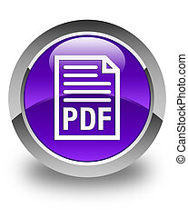PDF document icon glossy purple round button
