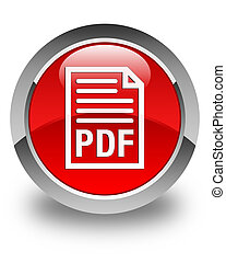PDF document icon glossy red round button