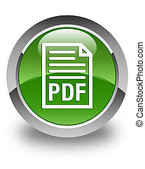 PDF document icon glossy soft green round button
