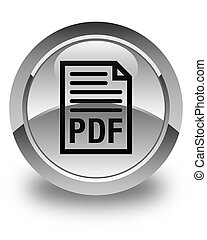 PDF document icon glossy white round button