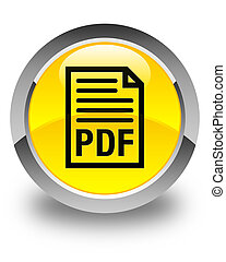 PDF document icon glossy yellow round button