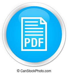 PDF document icon premium cyan blue round button