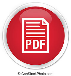 PDF document icon premium red round button