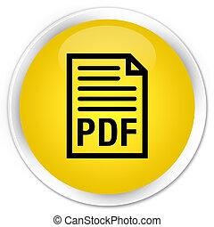 PDF document icon premium yellow round button