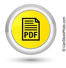 PDF document icon prime yellow round button