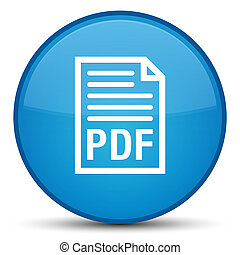 PDF document icon special cyan blue round button