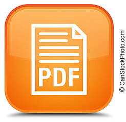 PDF document icon special orange square button