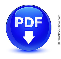 PDF download icon glassy blue round button