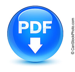 PDF download icon glassy cyan blue round button