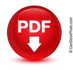 PDF download icon glassy red round button