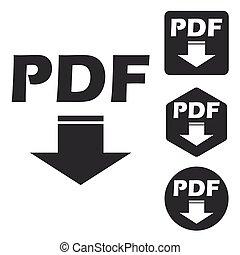 PDF download icon set, monochrome
