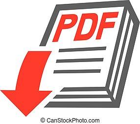 pdf, fichier, téléchargement, icône
