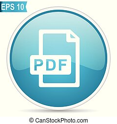 Pdf file blue glossy round vector icon in eps 10. Editable modern design internet button on white background.