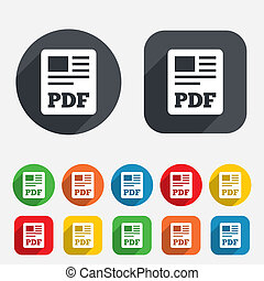 PDF file document icon. Download pdf button. PDF file symbol. Circles and rounded squares 12 buttons. Vector