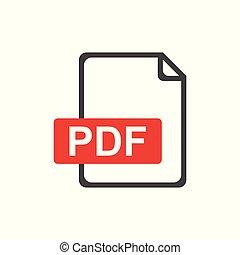 PDF file download icon. Flat vector