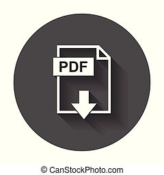 PDF file download icon. Flat vector with long shadow.
