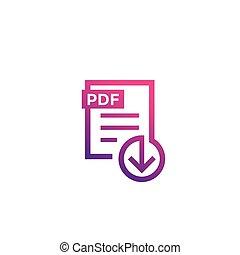 PDF file download icon on white