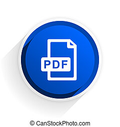 pdf file flat icon with shadow on white background, blue modern design web element