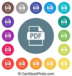 PDF file format flat white icons on round color backgrounds. 17 background color variations are included.