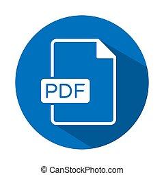 PDF file format icon for web or mobile app upload document type download button vector blue flat design illustration