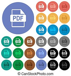 PDF file format round flat multi colored icons