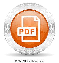 pdf file orange icon, christmas button