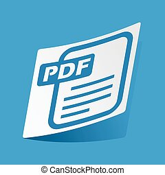 Sticker with PDF file icon, isolated on blue