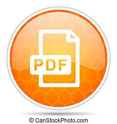 Pdf file web icon. Round orange glossy internet button for webdesign.