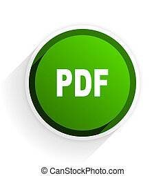pdf flat icon with shadow on white background, green modern design web element
