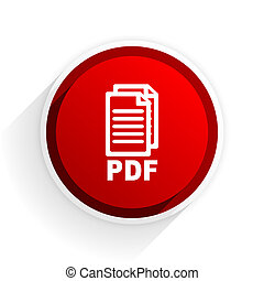 pdf flat icon with shadow on white background, red modern design web element,