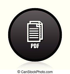 Pdf glossy vector black icon. Round sign. Web symbol.,