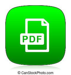pdf, grün, datei, ikone