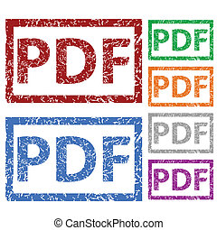 PDF grunge rubber stamp set