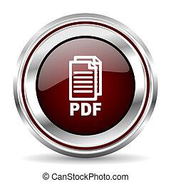 pdf icon chrome border round web button silver metallic pushbutton,