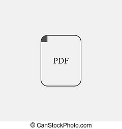 PDF icon in black color. Vector illustration eps10