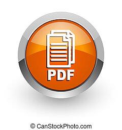 pdf orange glossy web icon,