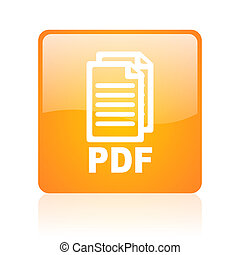 pdf orange square glossy web icon