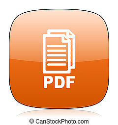 pdf orange square web design glossy icon,