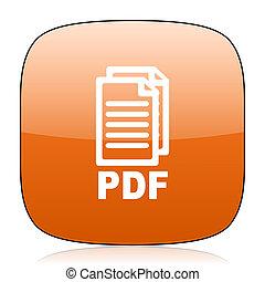 pdf orange square web design glossy icon,