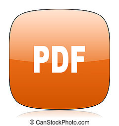 pdf orange square web design glossy icon