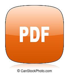 pdf orange square web design glossy icon